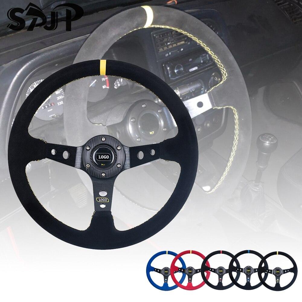 Universal 14 inch 350mm Suede/PVC Car Racing Steering wheels Deep Corn Drifting Sport Steering Wheel With Logo
